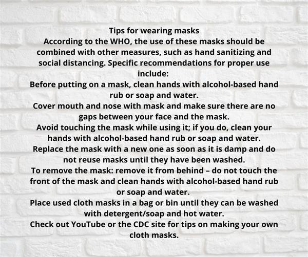 Tips for wearing masks