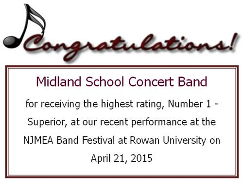 Midland School Concert Band received the highest rating